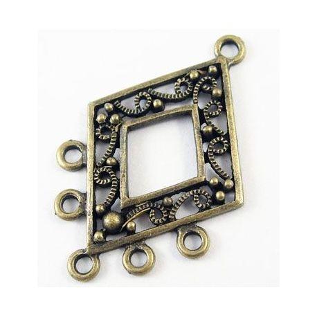 Diamond distributor, aged bronze color 40x26 mm