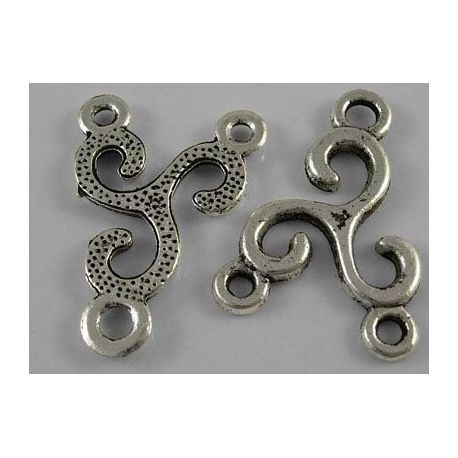 Distributor aged silver color 3 loops 25x20 mm