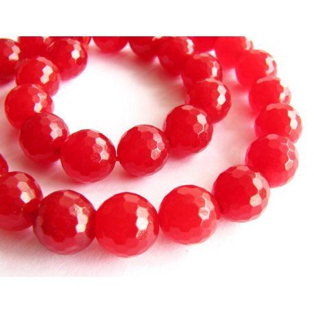 Rubino karoliukų gija raudonos spalvos briaunuoti apvalios formos 8mm gijoje 49vnt