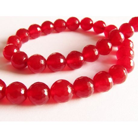Ruby beads red ribbed round shape 10mm