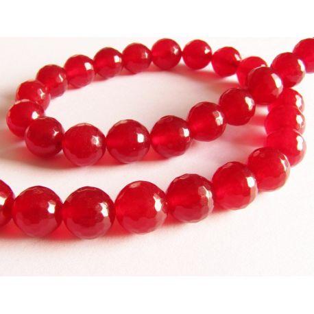 Rubino karoliukai raudonos spalvos briaunuoti apvalios formos 10mm