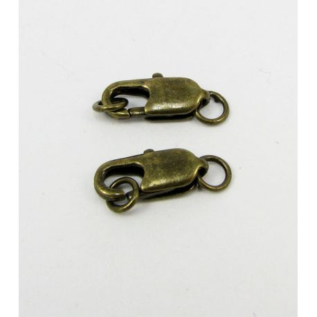 Carbine clasp, aged bronze, size 18x6 mm