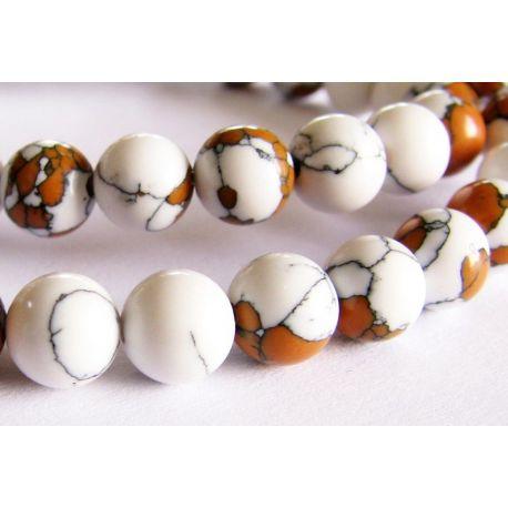 Sünteetilised türkiissinised helmed valged - pruunid ümmargused 6mm