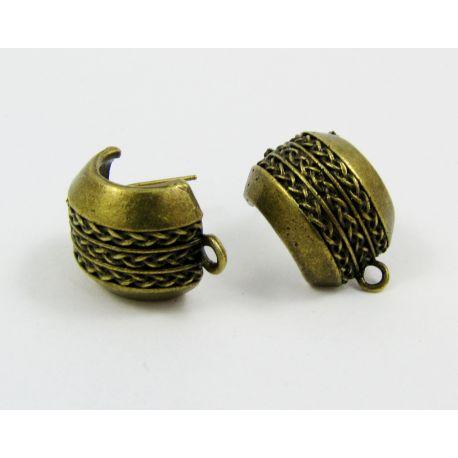 Earrings hooks, aged bronze, size 22x14 mm