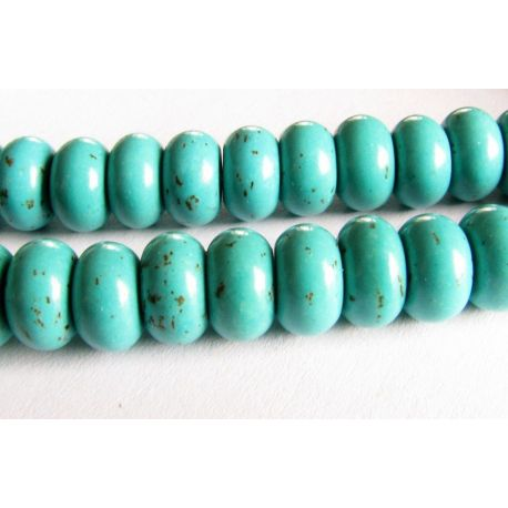 Synthetic turquoise beads greenish-blue rondeal shape 8x5mm
