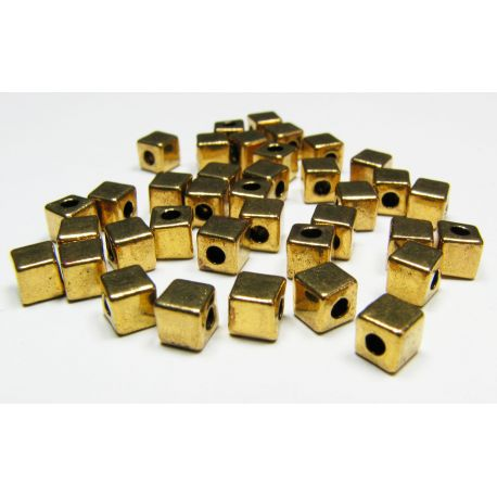 Insert aged gold, cube shape, size 4x4 mm, 10 pcs