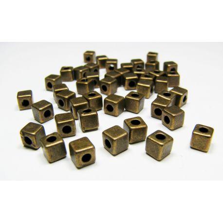 Insert aged bronze, cube shape, size 4x4 mm, 10 pcs