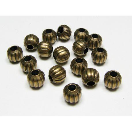 Insert aged bronze, round shape, ribbed size 6 mm, 10 pcs