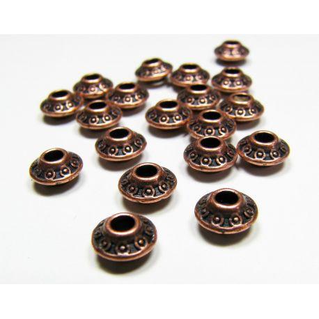 Insert aged copper, rondical shape, size 7x4 mm, 10 pcs