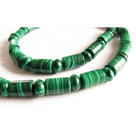 Malachito bead thread green - black tube - rondelet shape 6x9mm 4x6mm thread 58pcs