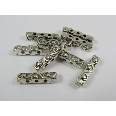 Insert aged silver color, 3 holes, size 18x4 mm, 10 pcs