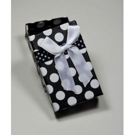 Gift box, cardboard, black with dots 80x50 mm, 1 pcs.