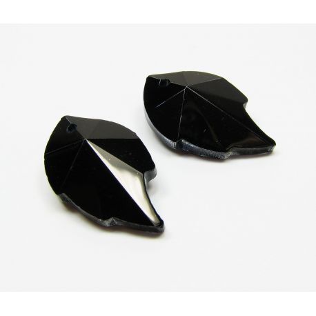 Swarovski crystal, black, sheet shaped, size ~25x15 mm, 1 pcs,
