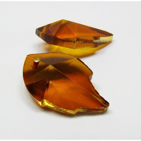 Swarovski crystal, brown-orange, sheet shaped, size ~25x15 mm