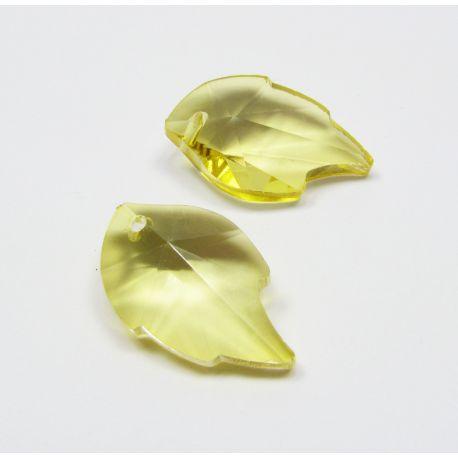 Swarovski crystal, yellow, leaf shaped, size ~25x15 mm