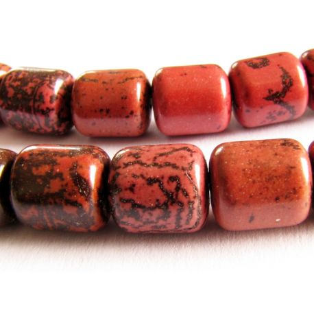 Stone beads dark brown - cherry tube shape 8x9mm