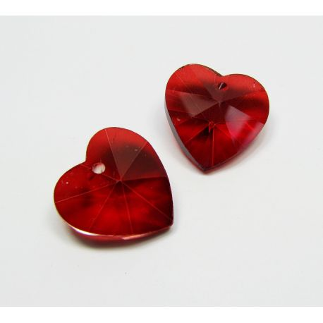 Swarovski crystal, bright red, heart shaped, size ~18x18 mm