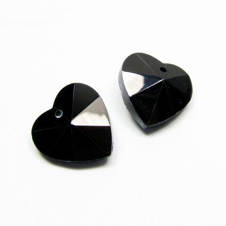 Swarovski crystal, black, heart shaped, size ~18x18 mm