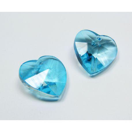 Swarovski crystal, azure, heart shape, size ~18x18 mm