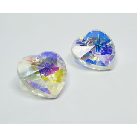 Swarovski crystal, transparent with AB coating, heart shape, size ~18x18 mm