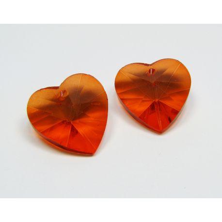 Swarovski crystal, orange, heart shaped, size ~18x18 mm