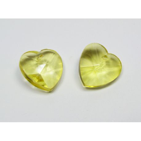 Swarovski crystal, yellow, heart shaped, size ~18x18 mm