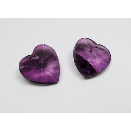 Swarovski crystal, purple, heart shape, size ~18x18 mm