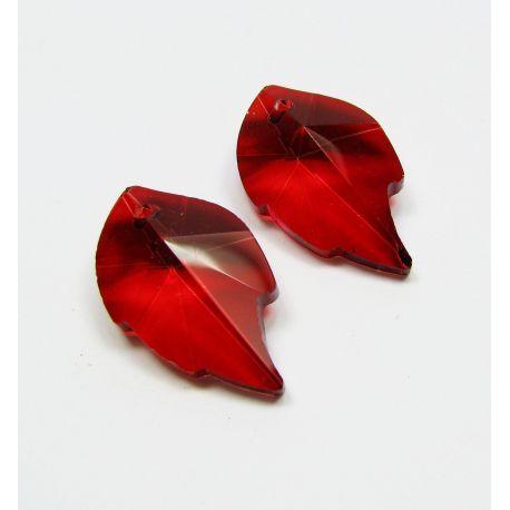 Swarovski crystal, red, sheet shaped, size ~25x15 mm