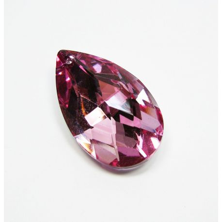Swarovski crystal, pink with silver back, drop shape, size ~38x22 mm