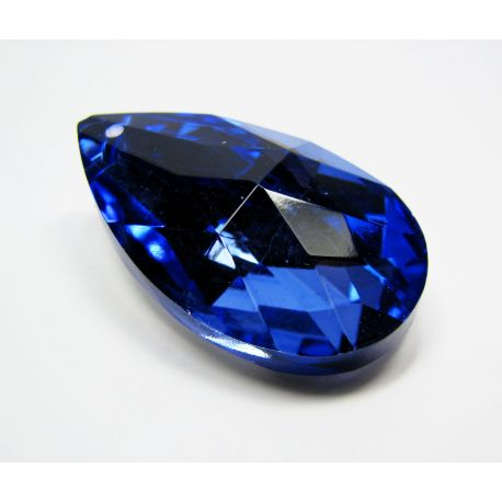 Swarovski crystal, blue with silver back, drop shape, size ~38x22 mm