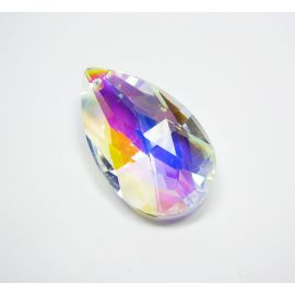 Swarovski crystal, clear with AB coating, drop shape, size ~38x22 mm