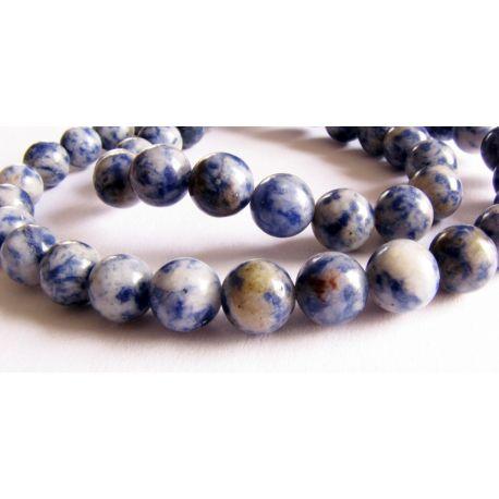 Lapis Lazuli pērlīšu diegs zils - balts apaļas formas 8mm diegs 48gab
