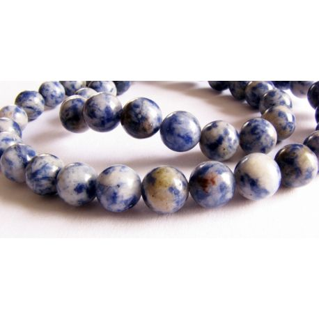 Lapis Lazuli bead thread blue - white round shape 8mm thread 48pcs