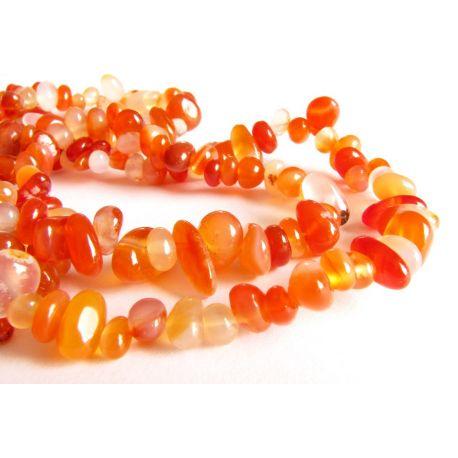 Karneolio skaldos gija oranžinės - baltos spalvos 4x7mm gijos ilgis 90cm