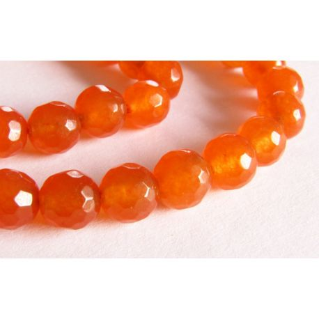 Stone beads orange ribbed round shape 6mm