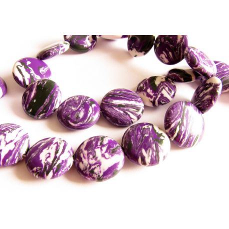 Houlito karoliukai violetinės - baltos spalvos monetos formos 14mm