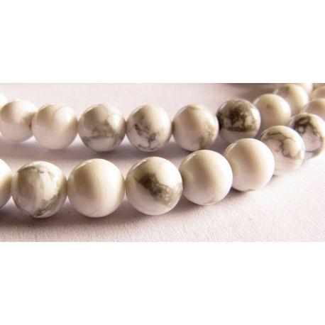 Houlito karoliukai baltos spalvos su pilkomis juostelėmis apvalios formos 6mm