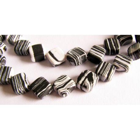 Houlito bead thread white black striped diamond shape 8x8mm thread 42pcs