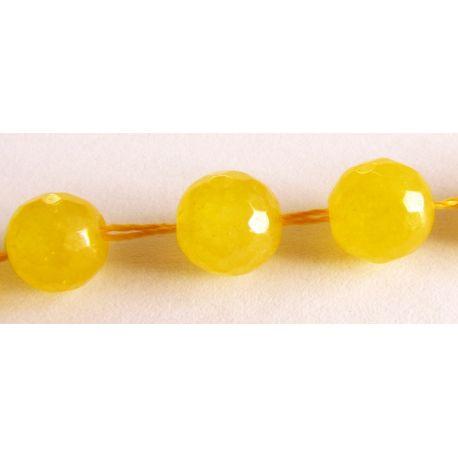 Topazo krelles dzeltena caurspīdīga rievota apaļa forma 8mm