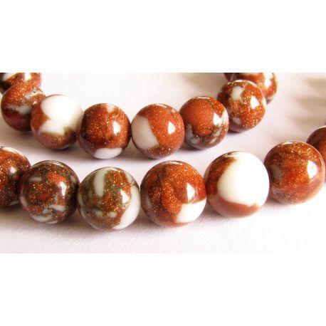Sun stone beads brown - white glossy round shape 8mm