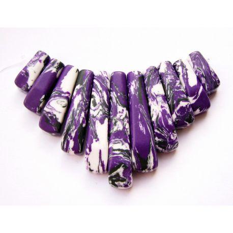 Sintetinio turkio pakabukų komplektas violetinės - baltos spalvos 8x15 8x40