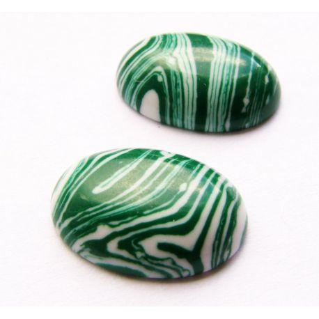 Sintetinio malachito kabošonas žalios - baltos spalvos ovalo formos 18x13mm
