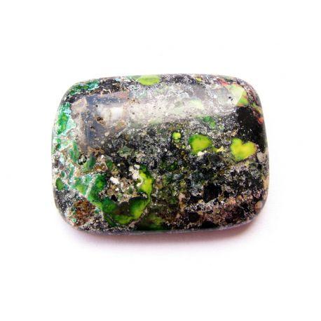 Jaspio stone cabochon green - black - brown rectangular 30x22x6mm