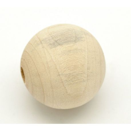Wooden beads, natural wood colors, 30 mm, 4 pieces.