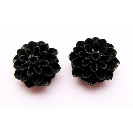 Kama - flower black round shape 16x8mm
