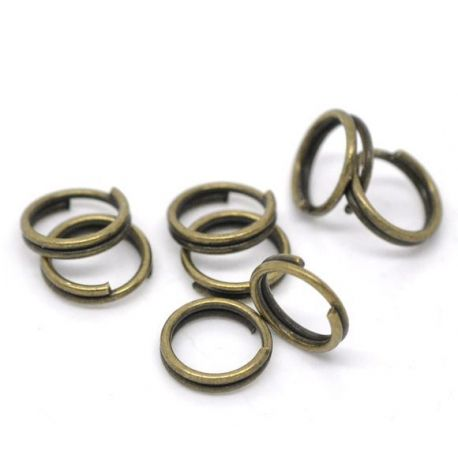 Double rings for the manufacture of jewelry bronze color 6 mm