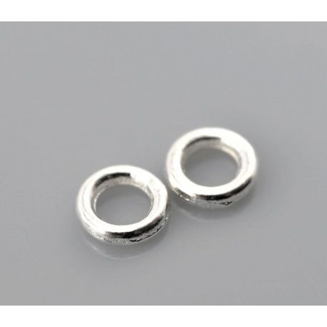 Closed ring for needlework silver color 4 mm 10 pcs.
