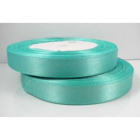 Satin ribbon, blue green, 12 mm wide, 1 roll
