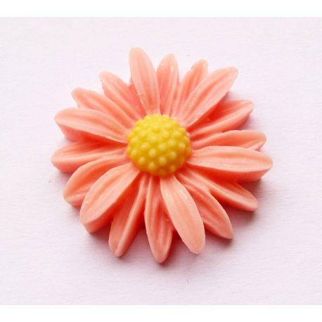 Kamėja - ramunėlė skirta papuošalų gamybai rožinės spalvos 27x26mm