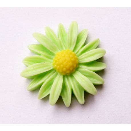 Kamėja - ramunėlė šviesiai žalios spalvos 27x26x7mm
